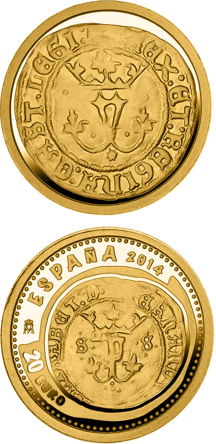 Image of 20 euro coin - 5th Series Numismatic Treasures: Queen Isabella | Spain 2014.  The Gold coin is of Proof quality.