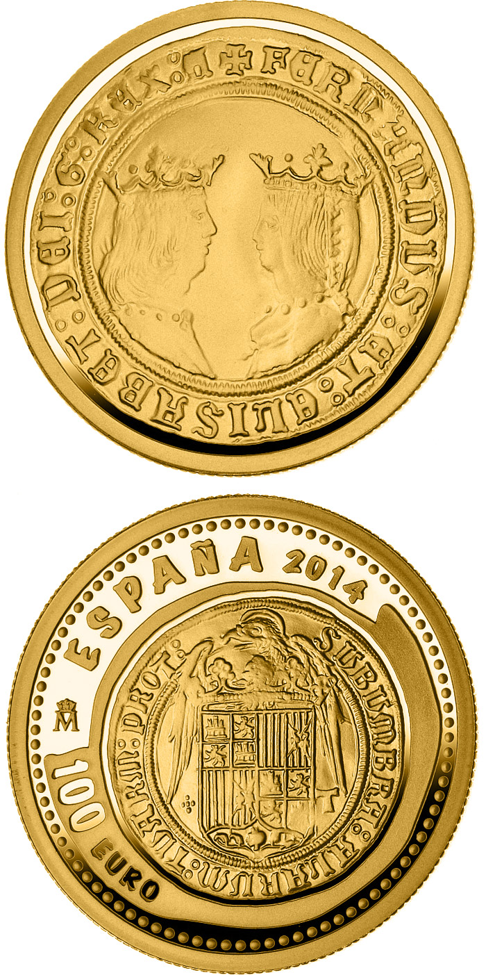 Image of 100 euro coin - 5th Series Numismatic Treasures: Queen Isabella | Spain 2014.  The Gold coin is of Proof quality.