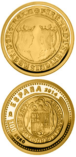 100 euro 5th Series Numismatic Treasures: Queen Isabella - 2014 - Series: Gold 100 euro coins - Spain