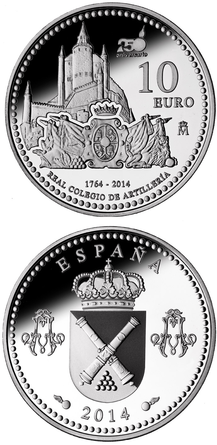 10 euro 250th Anniversary of the Royal School of Artillery - 2014 - Series: Silver 10 euro coins - Spain