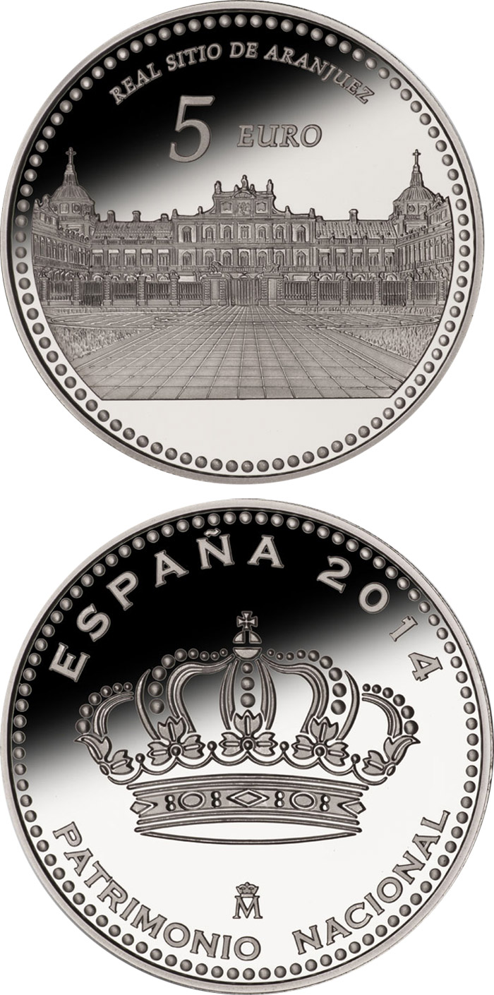 Image of 5 euro coin - Aranjuez | Spain 2014.  The Silver coin is of Proof quality.