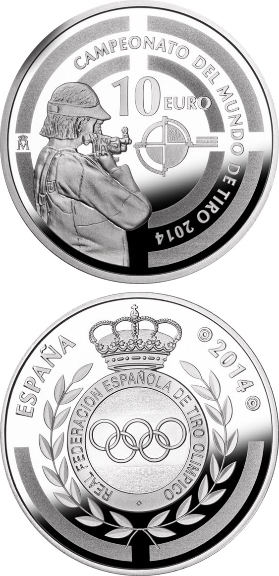 Image of 10 euro coin World Shooting Championship 2014 | Spain 2014.  The Silver coin is of Proof quality.