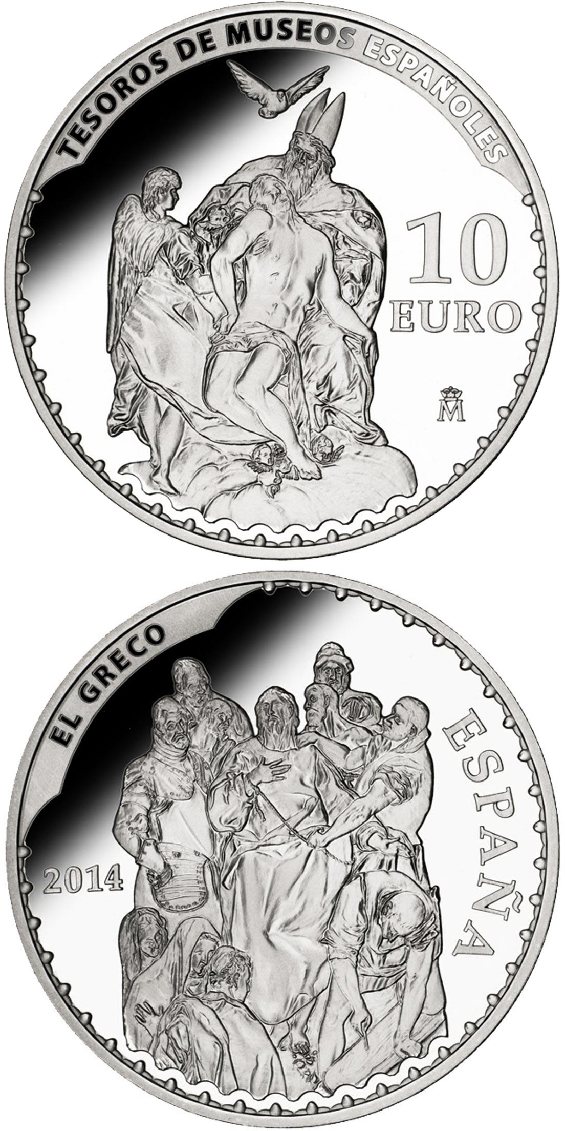 Image of 10 euro coin – El Greco | Spain 2014.  The Silver coin is of Proof quality.