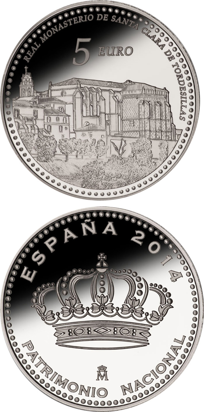 Image of 5 euro coin - Royal Convent of Santa Clara | Spain 2014.  The Silver coin is of Proof quality.