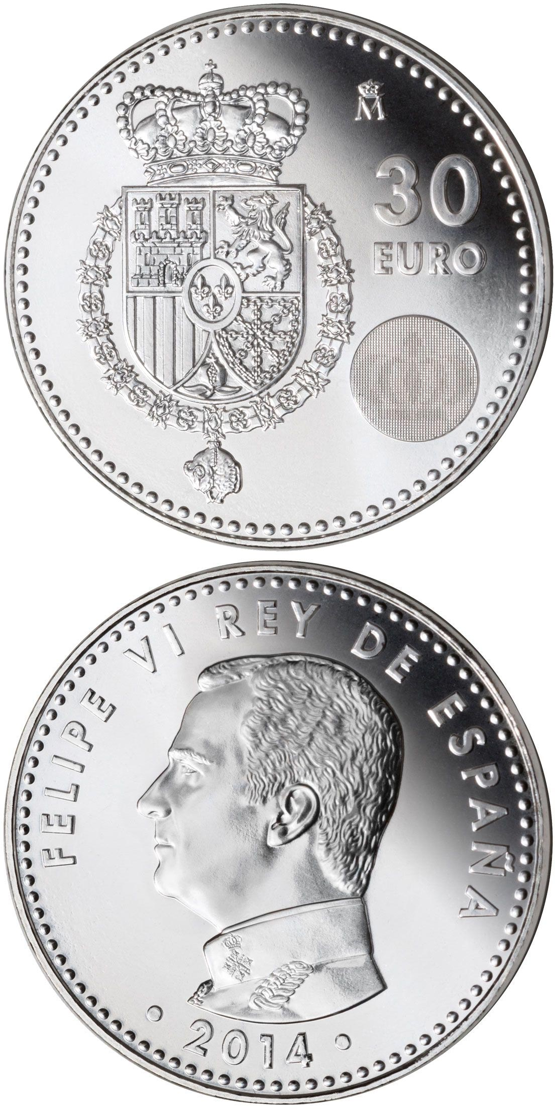 Image of 30 euro coin - Felipe VI | Spain 2014.  The Silver coin is of Proof quality.