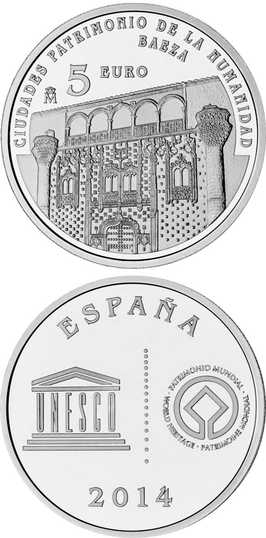 Image of 5 euro coin - Baeza | Spain 2014.  The Silver coin is of Proof quality.