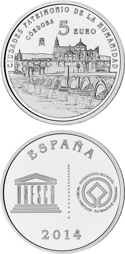 Image of 5 euro coin - Córdoba | Spain 2014.  The Silver coin is of Proof quality.