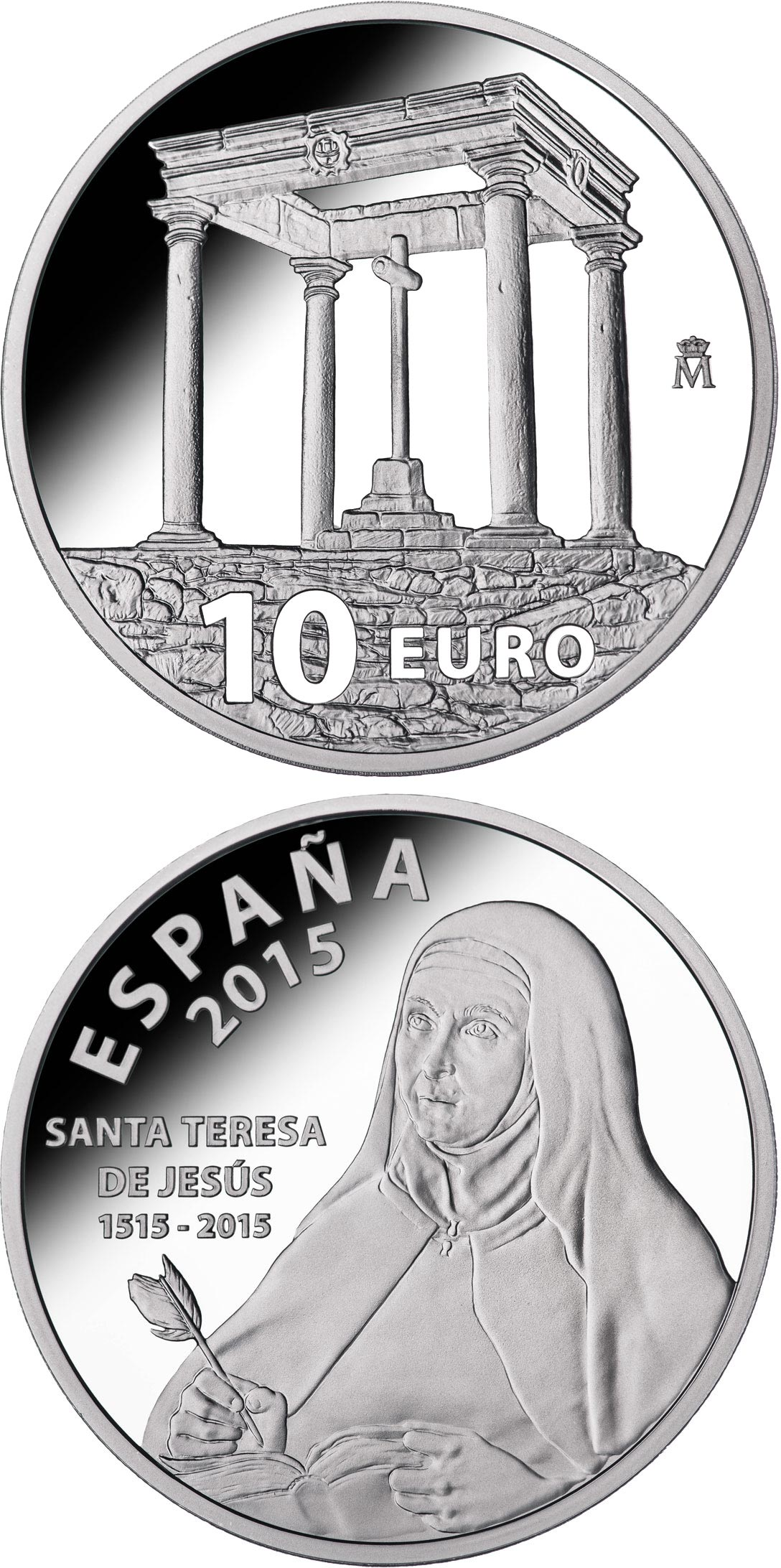 Image of 10 euro coin – 500th Anniversary of Saint Teresa of Jesus | Spain 2015.  The Silver coin is of Proof quality.