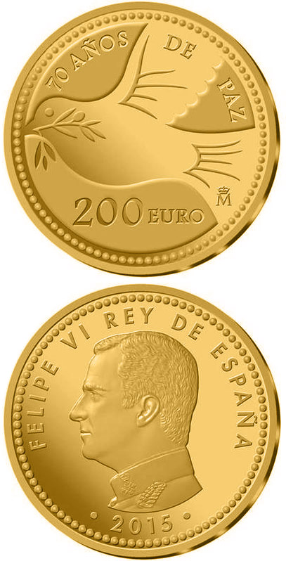 Image of 200 euro coin - 70 Years of United Nations | Spain 2015.  The Gold coin is of Proof quality.
