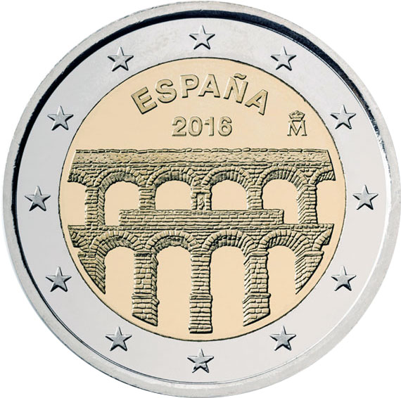 Image of 2 euro coin - Old Town of Segovia and its Aqueduct | Spain 2016