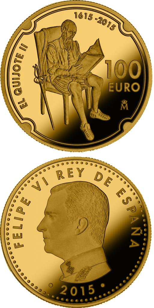 Image of 100 euro coin - 400 Years of Don Quijote | Spain 2015.  The Gold coin is of Proof quality.