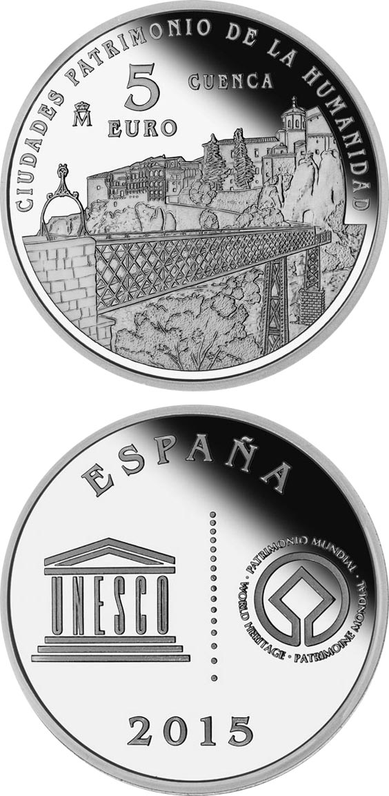 Image of 5 euro coin - Cuenca | Spain 2015.  The Silver coin is of Proof quality.