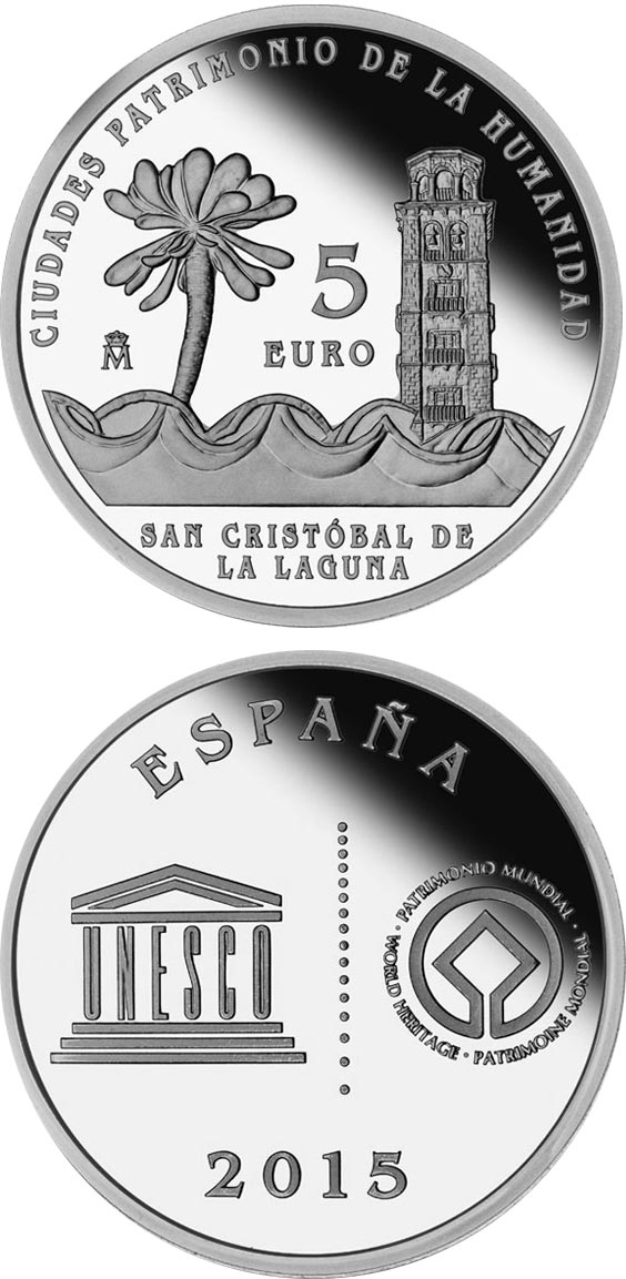 Image of 5 euro coin - San Cristóbal de La Laguna | Spain 2015.  The Silver coin is of Proof quality.