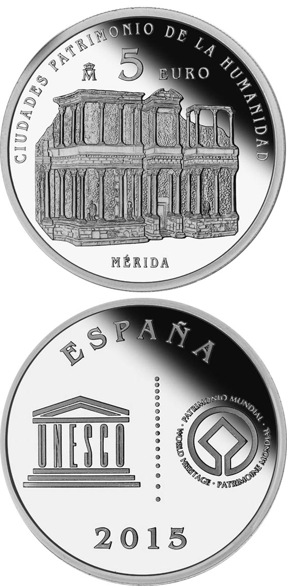 Image of 5 euro coin - Mérida | Spain 2015.  The Silver coin is of Proof quality.