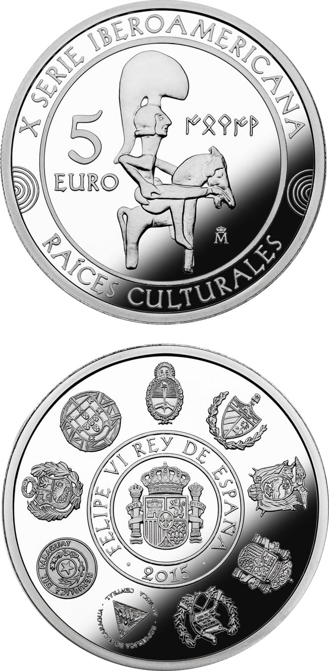 Image of 5 euro coin - 10th Ibero-American Series | Spain 2015.  The Silver coin is of Proof quality.