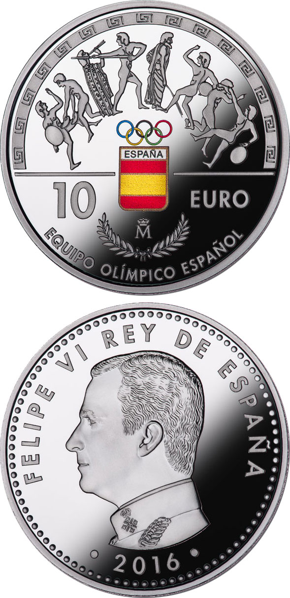 Image of 10 euro coin - Spanish Olympic Team | Spain 2016.  The Silver coin is of Proof quality.