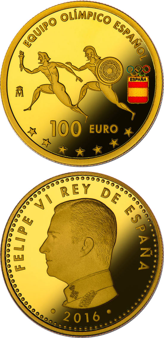 Image of 100 euro coin - Spanish Olympic Team | Spain 2016.  The Gold coin is of Proof quality.
