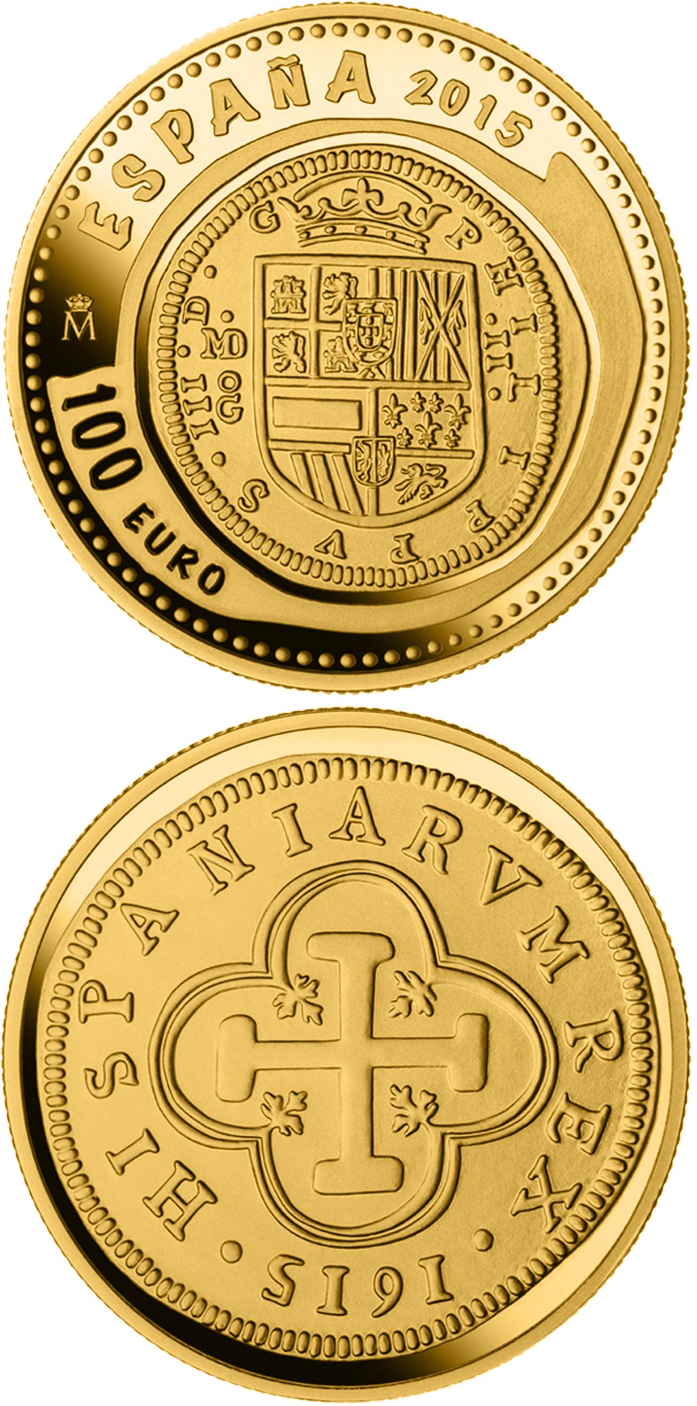 Image of 100 euro coin - 6th Series Numismatic Treasures: 400th anniversary of the inauguration of the Mint of Madrid | Spain 2015.  The Gold coin is of Proof quality.
