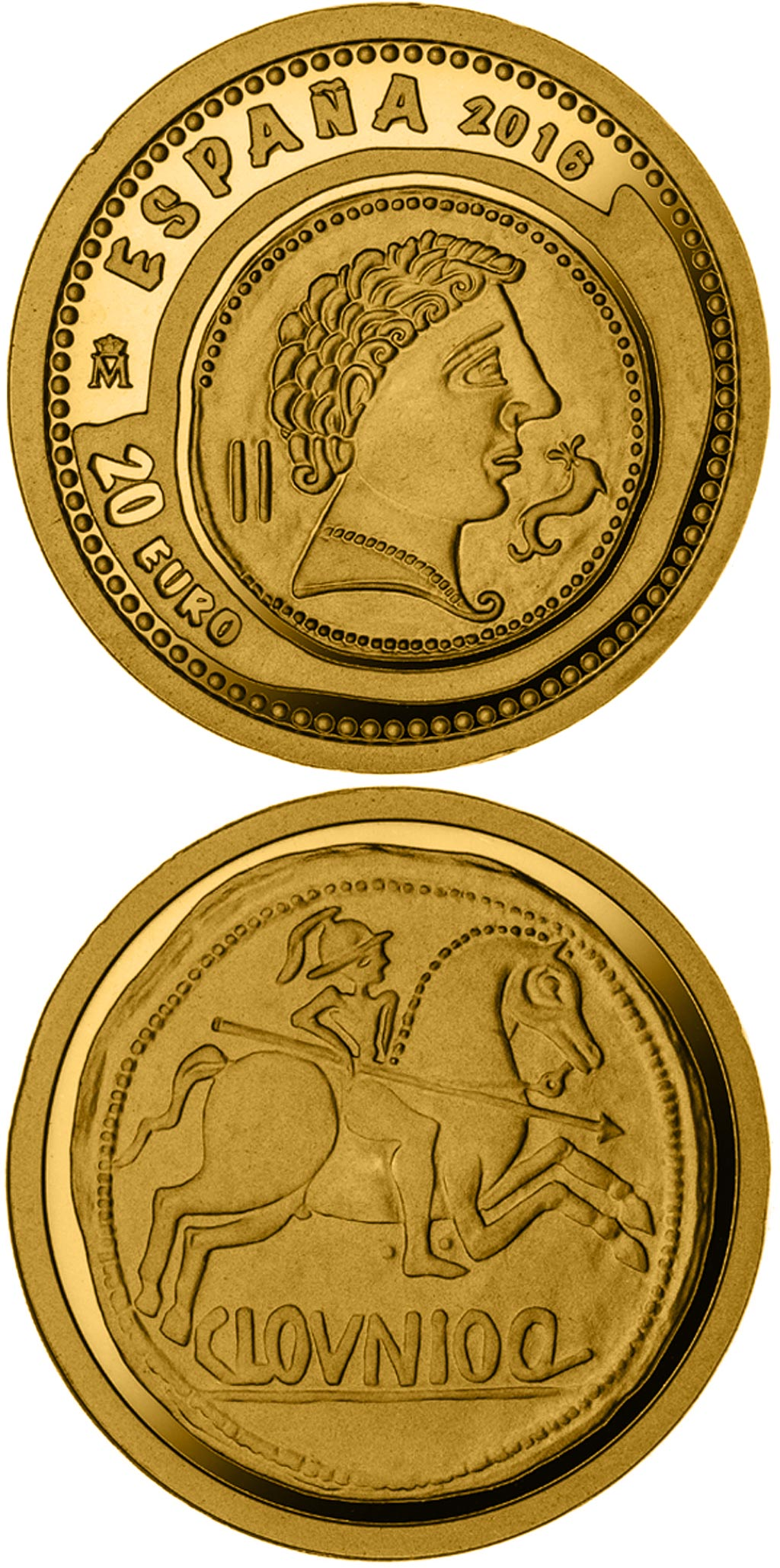 Image of 20 euro coin - 7th Series Numismatic Treasures: As from Clounioq | Spain 2016.  The Gold coin is of Proof quality.