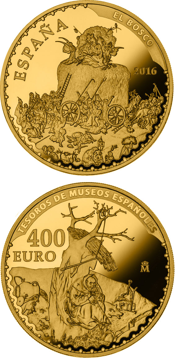 Image of 400 euro coin - Spanish Museum Treasures IV: Bosch - The Haywain | Spain 2016.  The Gold coin is of Proof quality.