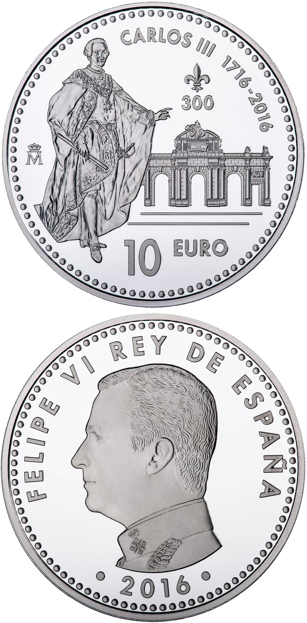 Image of 10 euro coin - Third Centenary of the Birth of Carlos III | Spain 2016.  The Silver coin is of Proof quality.