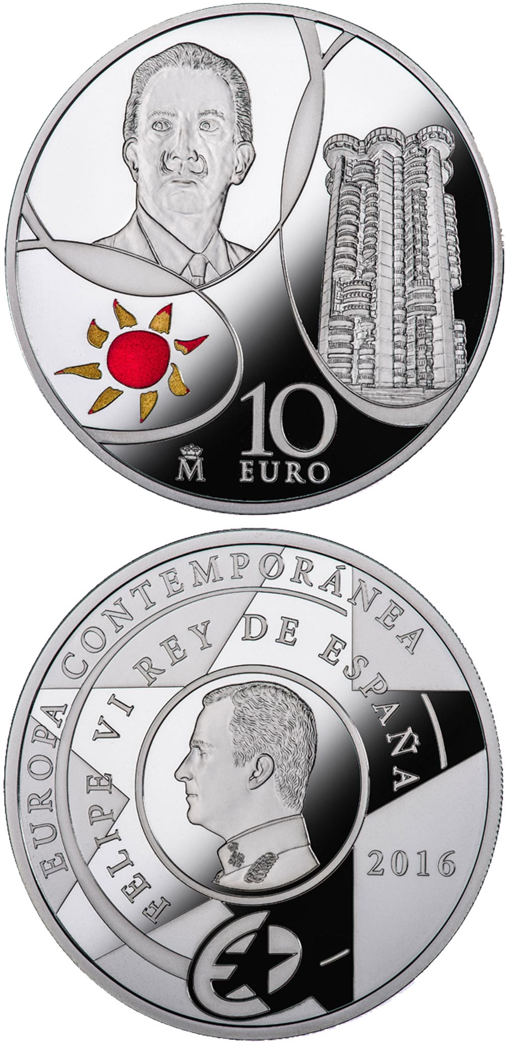Image of 10 euro coin - Contemporary Europe | Spain 2016.  The Silver coin is of Proof quality.