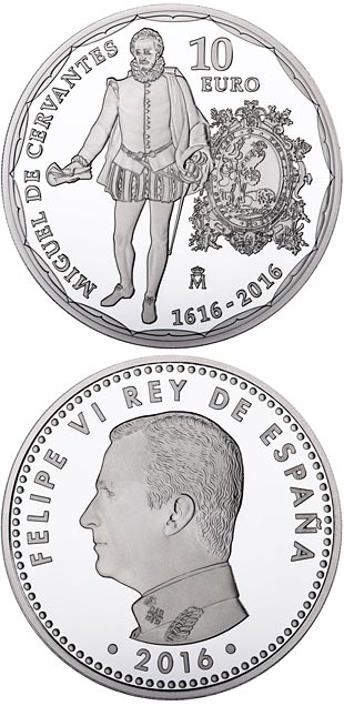 10 euro 4th Centenary of the death of Cervantes - 2016 - Series: Silver 10 euro coins - Spain