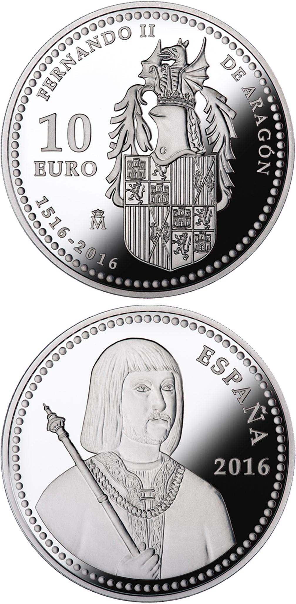 Image of 10 euro coin - 5th Centenary of Ferdinand II of Aragon | Spain 2016.  The Silver coin is of Proof quality.