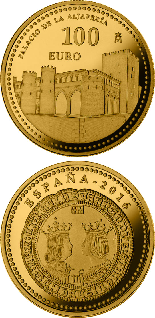 Image of 100 euro coin - 5th Centenary of Ferdinand II of Aragon | Spain 2016.  The Gold coin is of Proof quality.