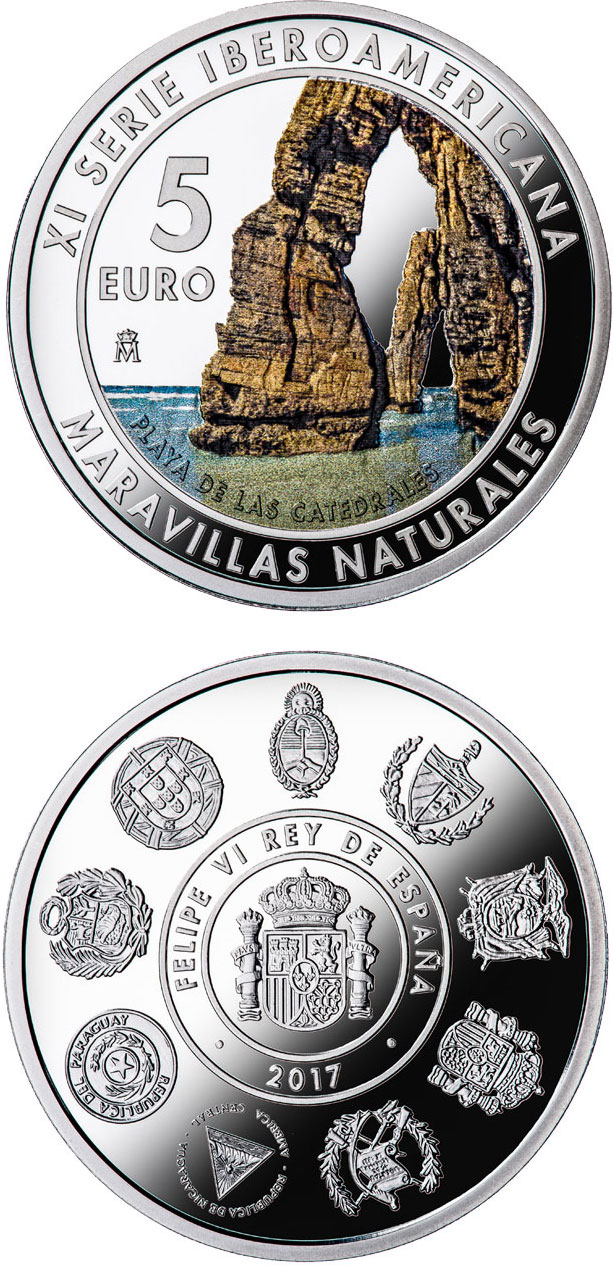 Image of 10 euro coin - 11th Ibero-american Series | Spain 2017.  The Silver coin is of Proof quality.