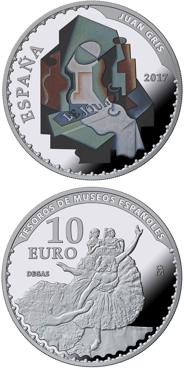 Image of 10 euro coin – Spanish Museum Treasures V: 25th anniversary of the Thyssen-Bornemisza Museum | Spain 2017.  The Silver coin is of Proof quality.