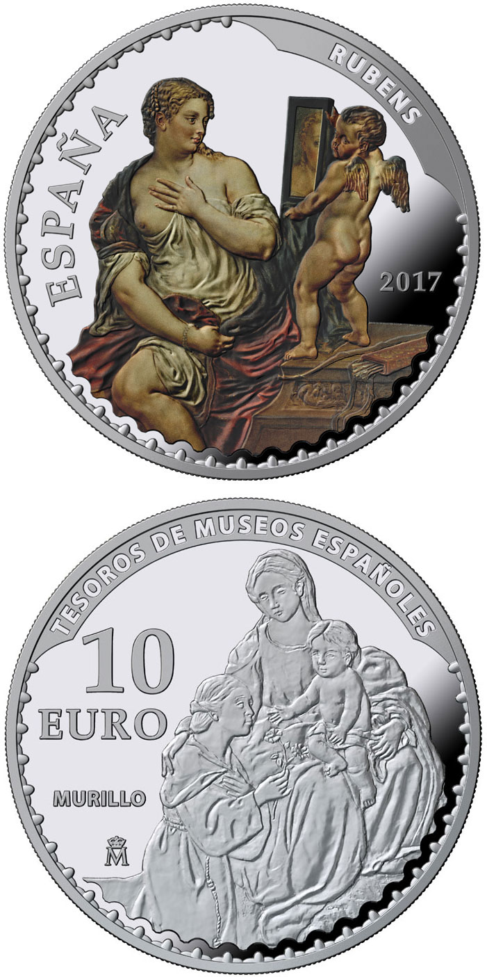 Image of 10 euro coin - Spanish Museum Treasures V: 25th anniversary of the Thyssen-Bornemisza Museum | Spain 2017.  The Silver coin is of Proof quality.