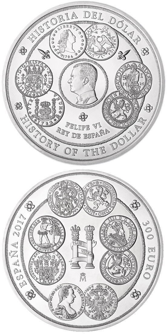 Image of 300 euro coin - History of the Dollar  | Spain 2017.  The Silver coin is of BU quality.