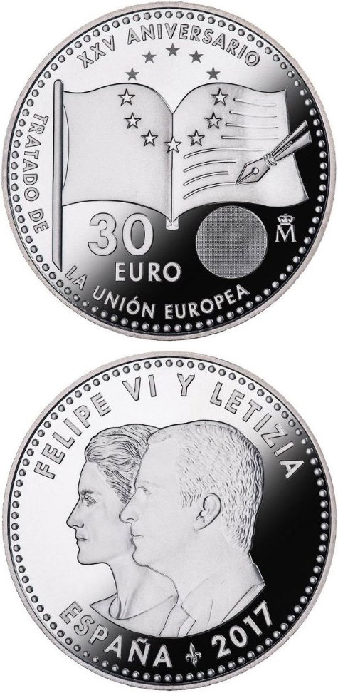 Image of 30 euro coin – 25th Anniversary of Treaty on European Union | Spain 2017.  The Silver coin is of BU, UNC quality.