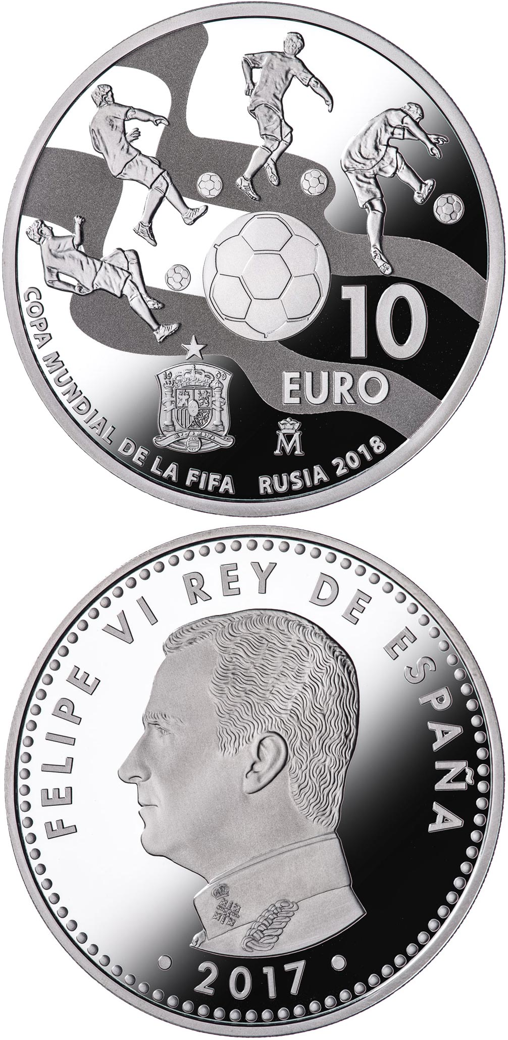 Image of 10 euro coin – FIFA World Cup Russia 2018 | Spain 2017.  The Silver coin is of Proof quality.