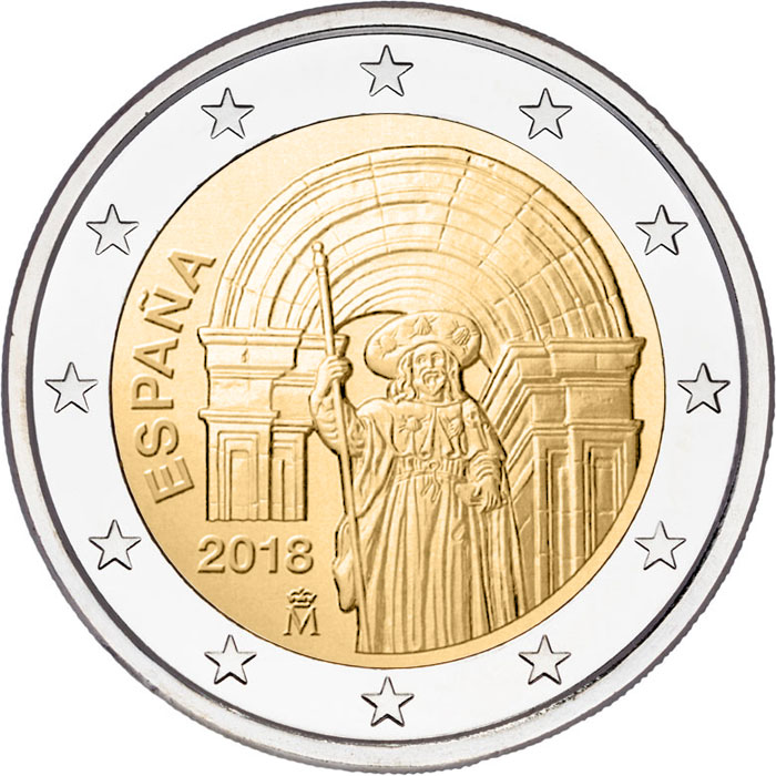 Image of 2 euro coin – Historic Center of Santiago de Compostela | Spain 2018