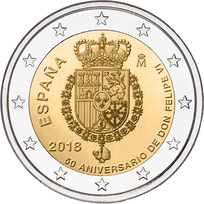 Image of 2 euro coin – 50th Birthday of King Felipe VI | Spain 2018