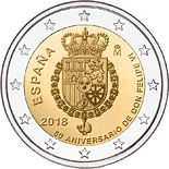 2 euro coin 50th Birthday of King Felipe VI | Spain 2018