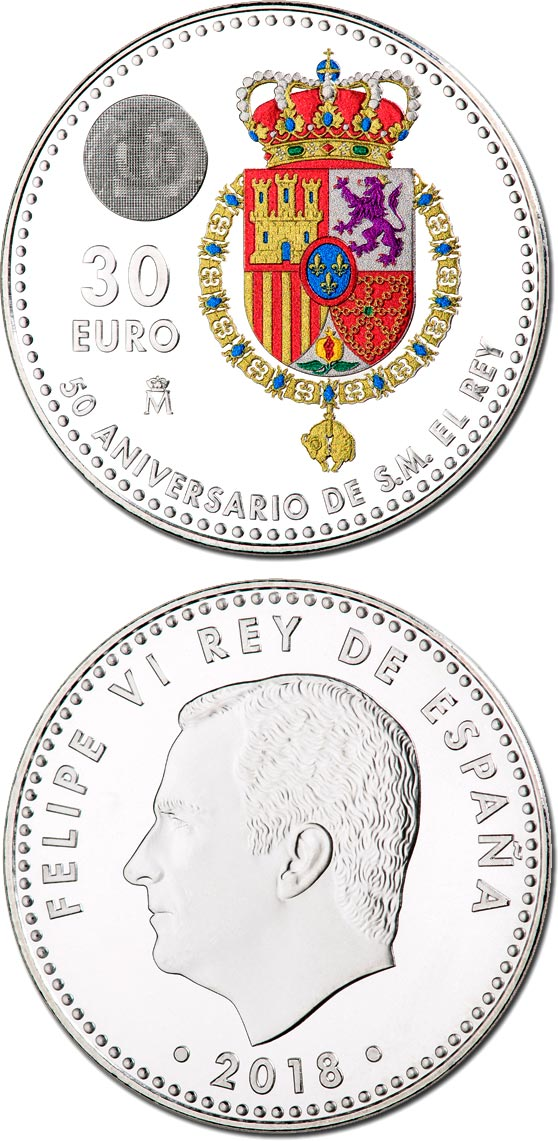 Image of 30 euro coin - 50th Birthday of King Felipe VI | Spain 2018.  The Silver coin is of BU, UNC quality.