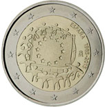 2 euro coin The 30th anniversary of the EU flag | Spain 2015