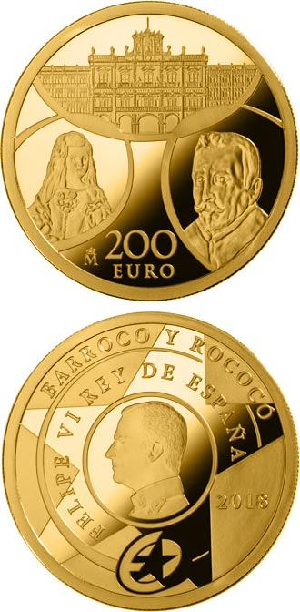 Image of 200 euro coin Baroque and Rococo | Spain 2018.  The Gold coin is of Proof quality.