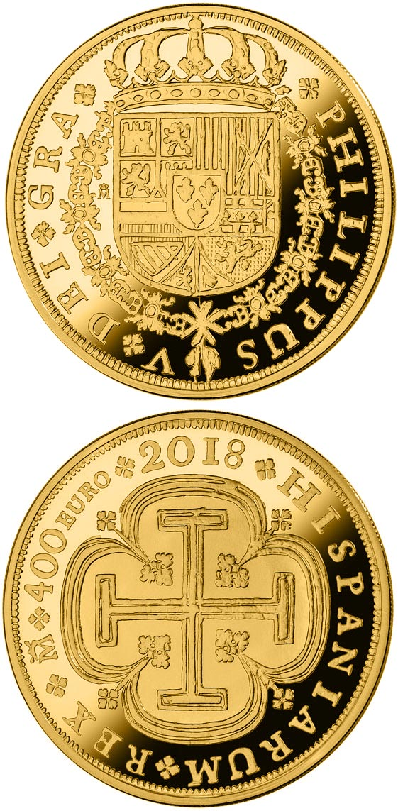 Image of 400 euro coin - 150th Anniversary Spanish Escudos | Spain 2018.  The Gold coin is of Proof quality.