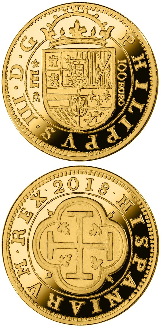Image of 100 euro coin - 150th Anniversary Spanish Escudos | Spain 2018.  The Gold coin is of Proof quality.