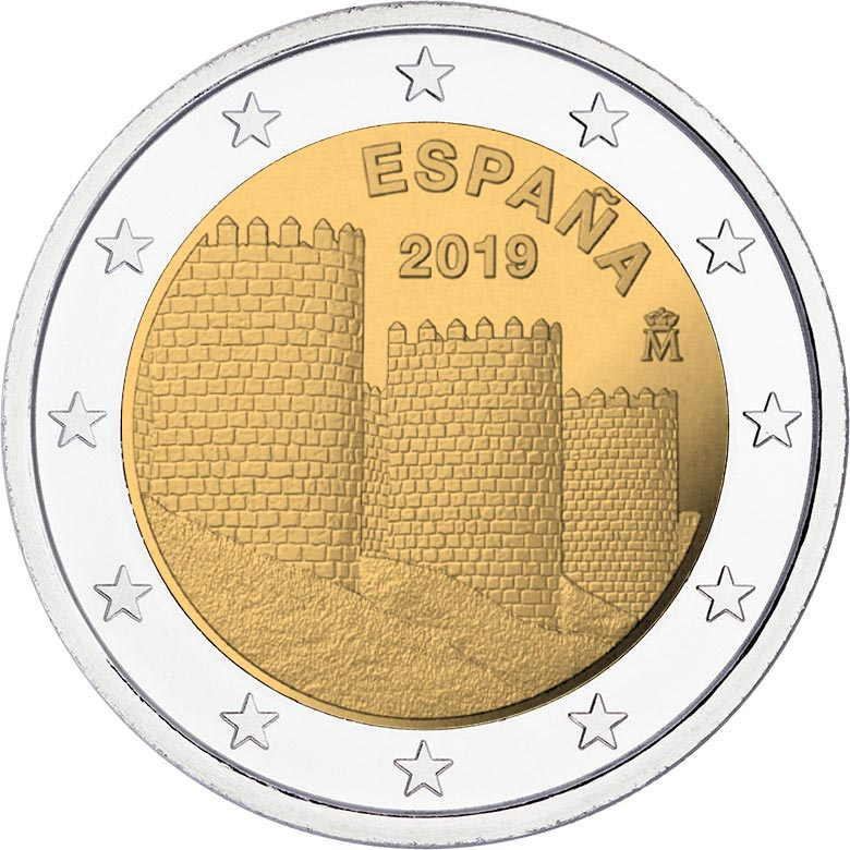 Image of 2 euro coin – Walls of Ávila | Spain 2019