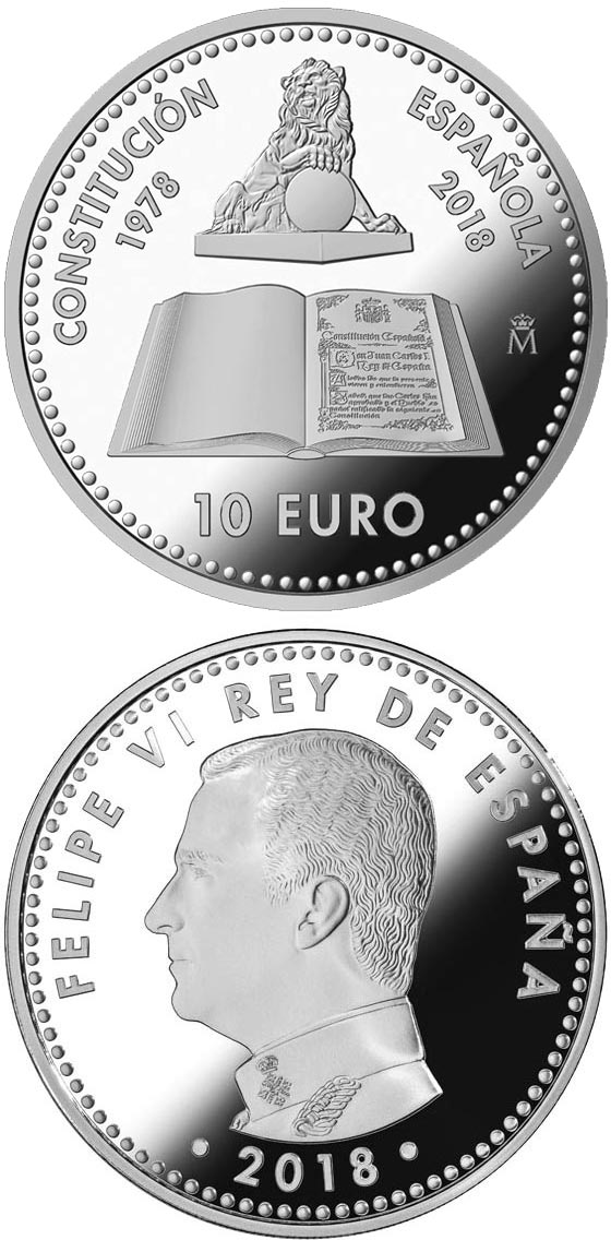 Image of 10 euro coin - 40th Anniversary of the Spanish Constitution | Spain 2018.  The Silver coin is of Proof quality.