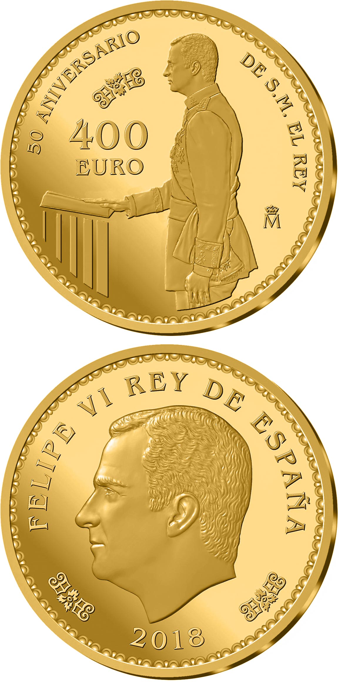 Image of 400 euro coin – 50th Anniversary of H.M. Felipe VI | Spain 2018.  The Gold coin is of Proof quality.