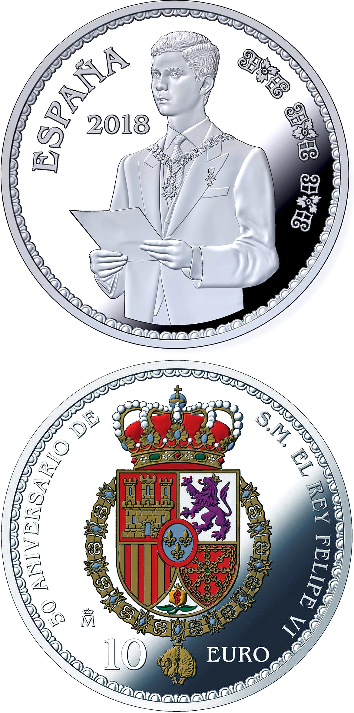 Image of 10 euro coin - 50th Anniversary of H.M. Felipe VI | Spain 2018.  The Silver coin is of Proof quality.