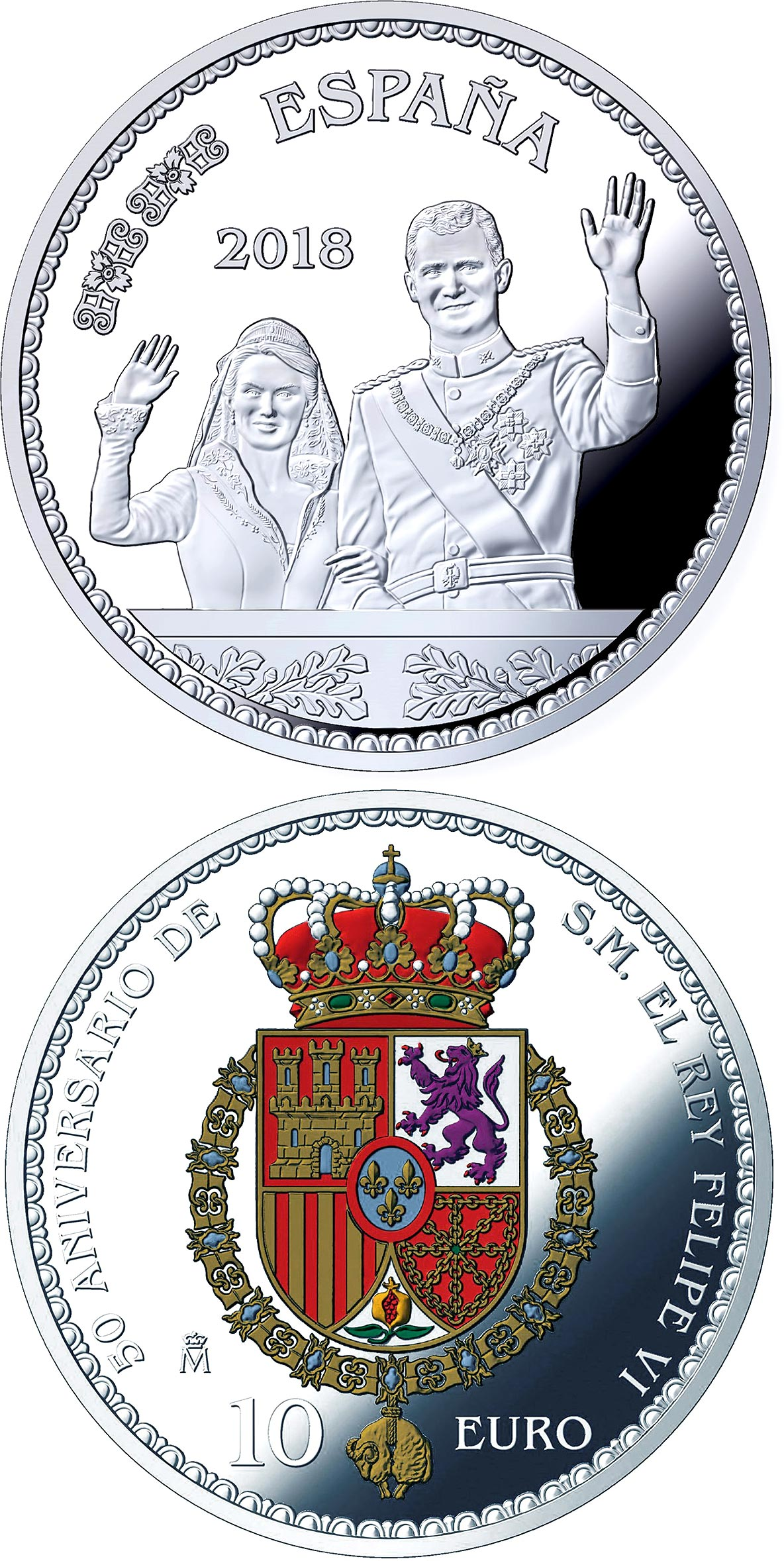 Image of 10 euro coin – 50th Anniversary of H.M. Felipe VI | Spain 2018.  The Silver coin is of Proof quality.