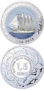 1.5 euro coin Juan Sebastián de Elcano Training Ship | Spain 2018