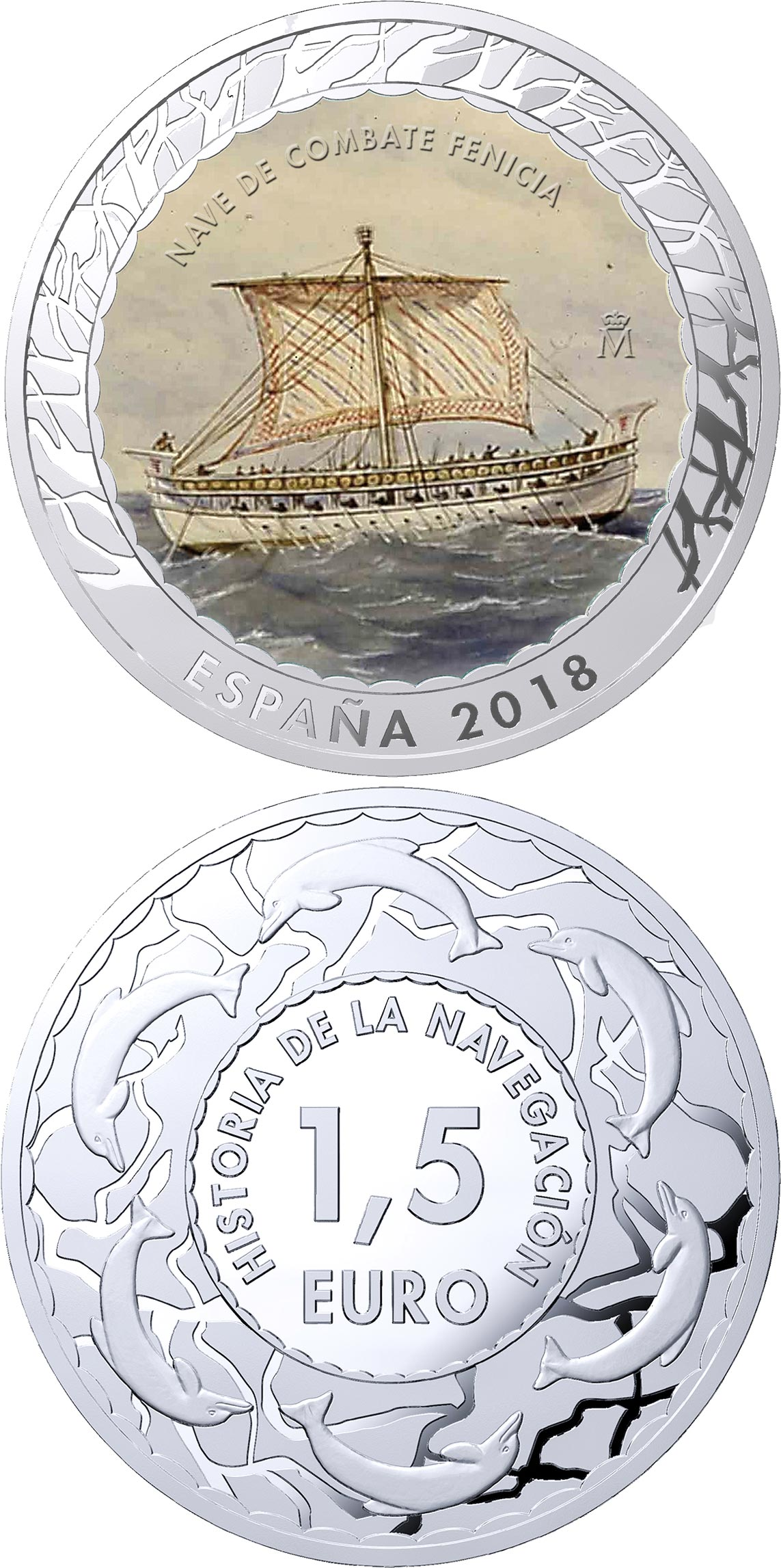 Image of 1.5 euro coin - Phoenician Warship | Spain 2018.  The Copper–Nickel (CuNi) coin is of BU quality.